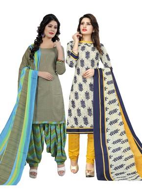 Teal-Green Printed Cotton Salwar