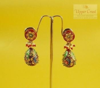 Ruby Handpainted peacock motif kundan jhumka earrings