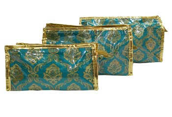 Shree Shyam Products Brocade Designer Utility Plastic Coated Pouch Bags For Ladies
