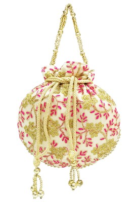 Shree Shyam Products Embroidered Silk Potli Bag With Metal Bead Handle