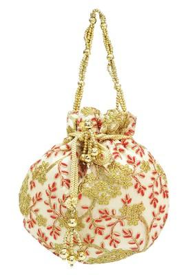 Shree Shyam Products Silk Potli With Metal Bead and Jari Work