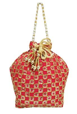 Shree Shyam Products Silk Ethnic Potli With Metal Bead and Jari Work