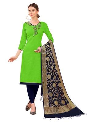 Light-Green Hand Embroidery Cotton Salwar