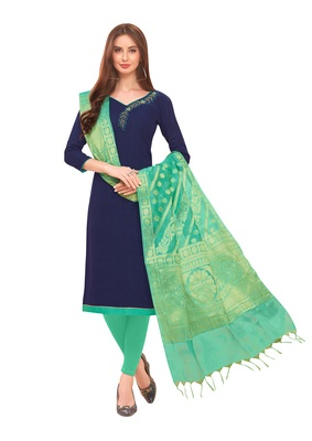 Navy-Blue Hand Embroidery Cotton Salwar