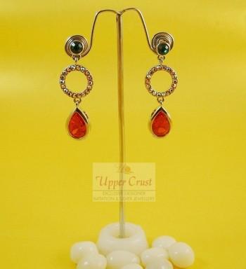 Rhinestone Orange Blue Vintage Fashion Jewellery Earrings