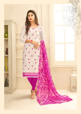 White embroidered pure blended cotton salwar