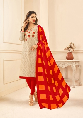 Beige embroidered pure blended cotton salwar