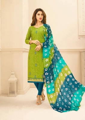 Light-green embroidered pure blended cotton salwar
