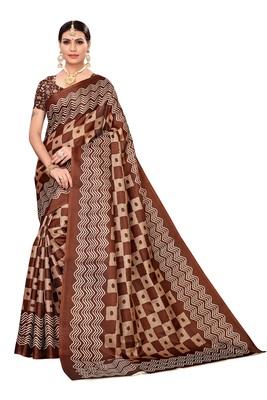 Coffee printed khadi saree with blouse
