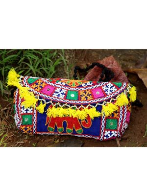 Yellow Colored Tassel All Around Flap Elephant Pattern Kutch Embroidered Banjara Sling Bag WIth Dori Style Sling