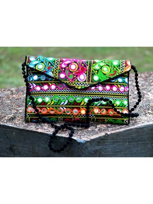 Aari Worked Foil Patched Colorful Banjara Sling Bag With Non Adjustable Dori Pattern 3