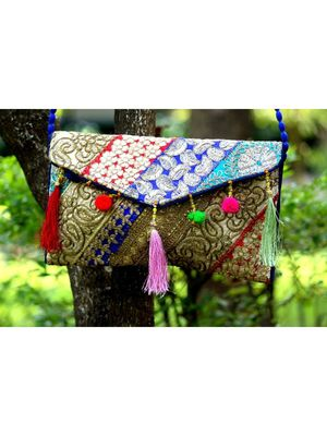 Multicolored Rajasthani Sling Bag With Real Mirror With Embroidered Work Pattern 3