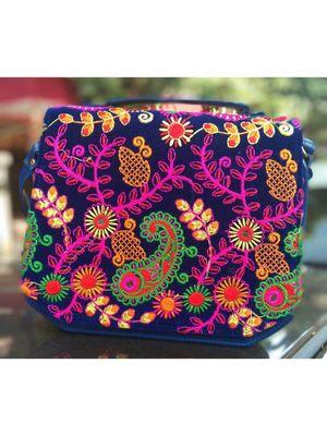 Navy Blue Colored Velvet Base Kutch Embroidered Casual Sling Bag