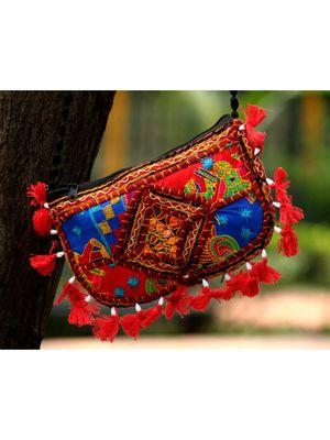 Red Colored Tasseled Maroon Colored Base Non Adjustable Banjara Sling Bag Pattern 2