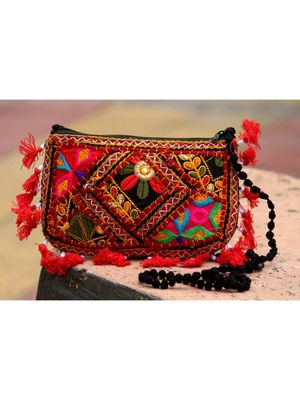 Red Colored Tasseled Maroon Colored Banjara Non Adjustable Sling Bag Pattern 1