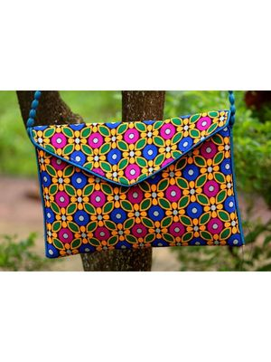 Multicolored Rajasthani Sling Bag With Printed Embroidered Work Pattern 4
