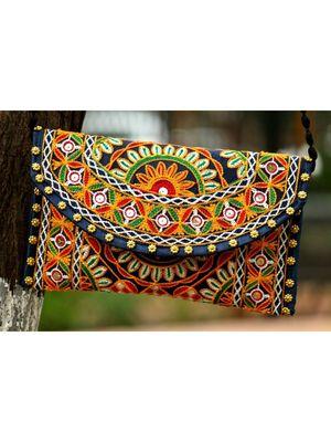 Multicolored Kutch Embroidered Flower Pattern Banjara Sling Bag WIth Dori Style Sling Pattern 1