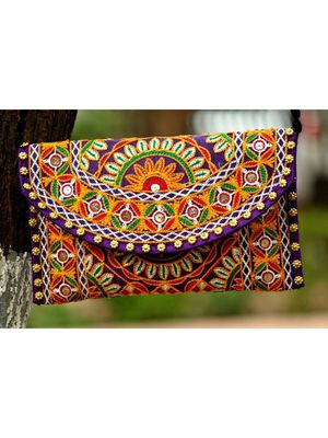 Multicolored Kutch Embroidered Flower Pattern Banjara Sling Bag WIth Dori Style Sling Pattern 3