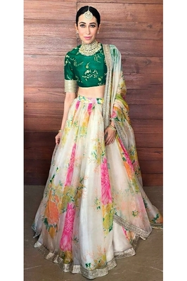 Cream and Green Floral Print Organza Karishma Kapoor Semi Stitched Lehenga