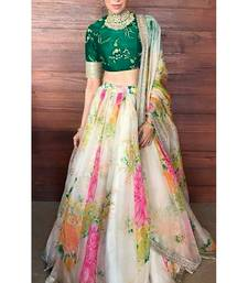 Cream And Green Floral Print Organza Karishma Kapoor Semi Stitched Lehenga