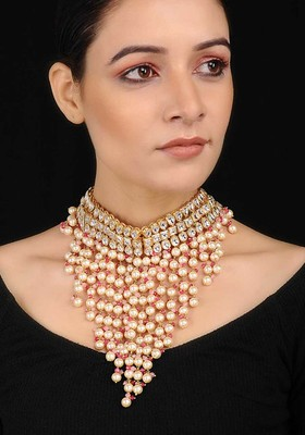Gold Tone Kundan Inspired Choker Necklace With Pearls