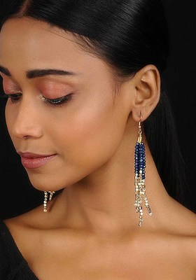 Blue-Gold Tassel Earrings