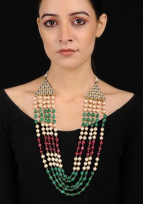Multicolored Onyx Necklace With Pearls