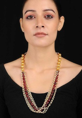 Red-White Onyx Necklace With Pearls
