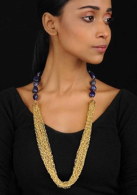 Blue-Gold Agate Necklace