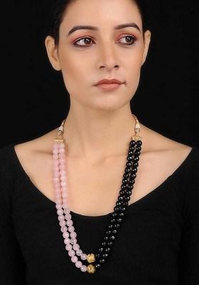 Pink-Black Agate And Rose Quartz Necklace