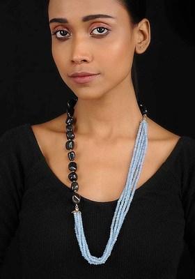 Black-Blue Crystal Beaded Necklace