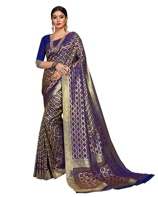 Blue woven silk saree with blouse