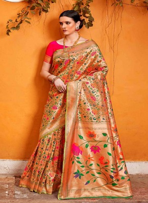 light peach woven silk blend saree with blouse