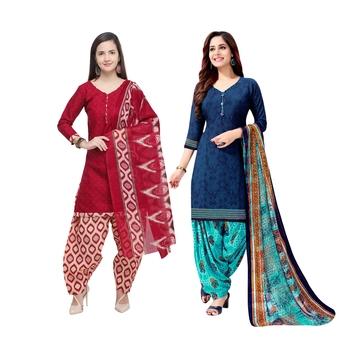 Maroon Printed Blended Cotton Salwar