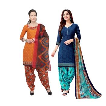 Orange Printed Blended Cotton Salwar