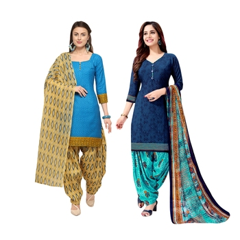 Sky-Blue Printed Blended Cotton Salwar