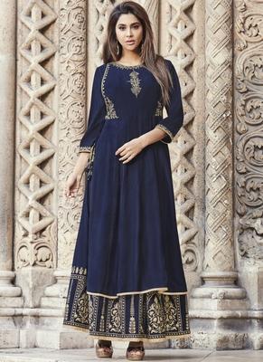 Blue embroidered viscose rayon pakistani-kurtis