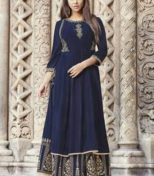 Blue embroidered viscose rayon pakistani-kurtis