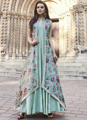 Sky-blue embroidered viscose rayon pakistani-kurtis