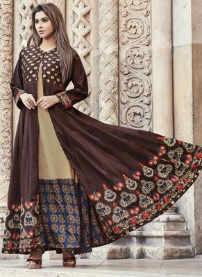 Brown embroidered viscose rayon pakistani-kurtis