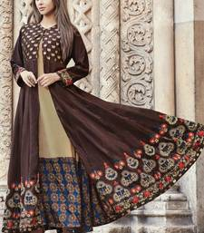 Brown embroidered viscose rayon pakistani-kurtis