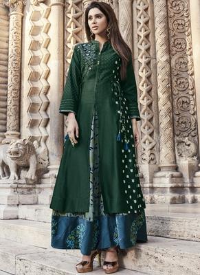 Green embroidered viscose rayon pakistani-kurtis