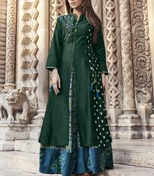Green embroidered viscose rayon pakistani-kurtis