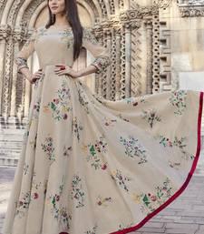Beige embroidered viscose rayon pakistani-kurtis