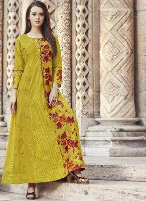 Yellow embroidered viscose rayon pakistani-kurtis