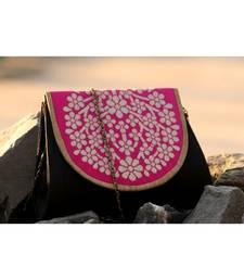bagzVela Black & Pink Medium Size Traditional Sling Bag