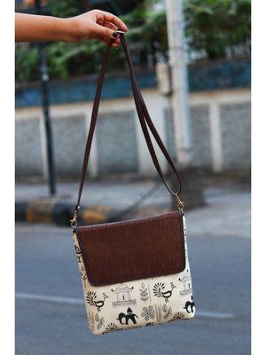 bagzVela Warli Printed Brown & White Casual Sling Bag