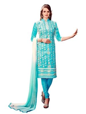 Aqua-Blue Embroidered Cotton Salwar