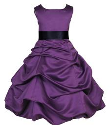 Purple Plain Satin Kids Frocks