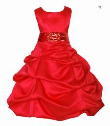 Red Plain Satin Kids Frocks